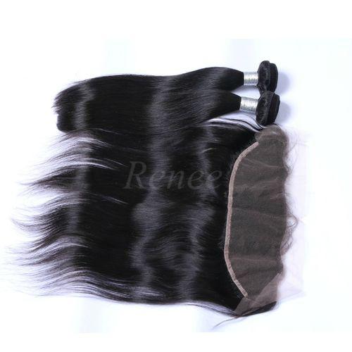 Malaysian Virgin Straight Human Hair - 2 Piece - 10'' + Lace Frontal Closure - Natural Black