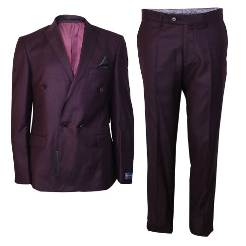 2-Piece Slim Fit Suit - Wine Red