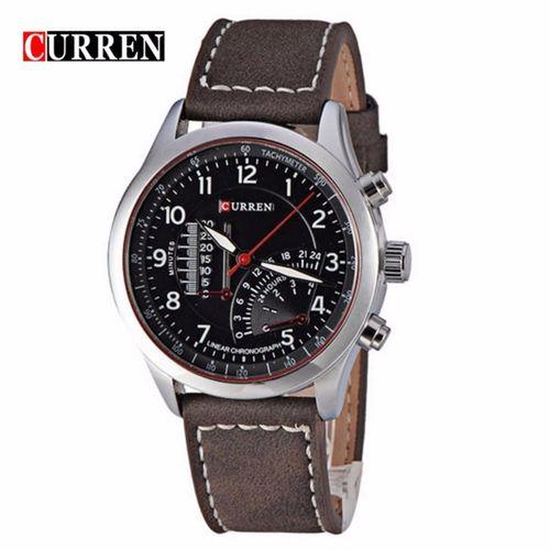 Leather Chronograph Analog Wrist Watch - Dark Brown/Black
