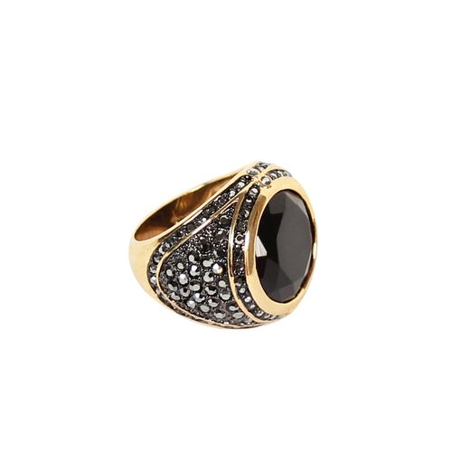 Gem Studded Class Ring - Gold/Black
