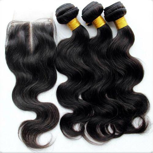 "Body Wave Pure Virgin Indian Human Hair + Lace Closure - 3 Piece - 16"" - Natural Black"