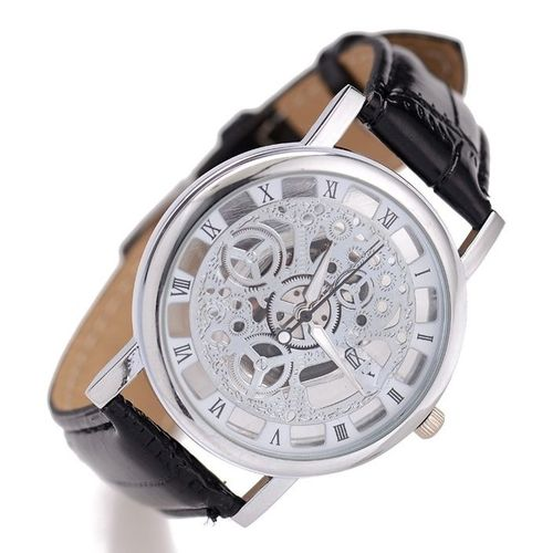 Leather Skeleton Wrist Watch - Black/Silver