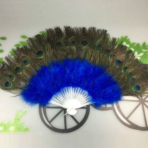 Wedding Showgirl Dance Elegant Large Feather Folding Hand Fan Decor Decal Blue