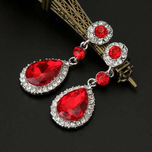 Wedding Jewelry Rhinestone Style Wedding Earrings For Women Red