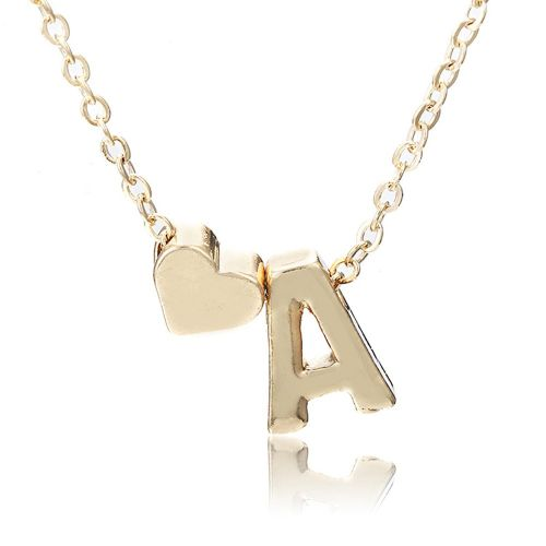 Peach Heart-Shaped Letter Necklace - Gold