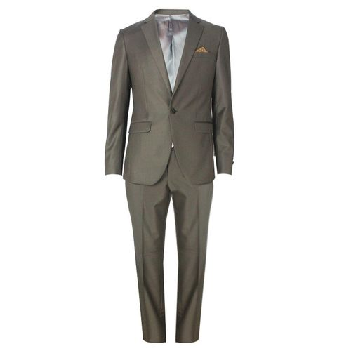 Single Button Slim Fit Suit - Dark Brown