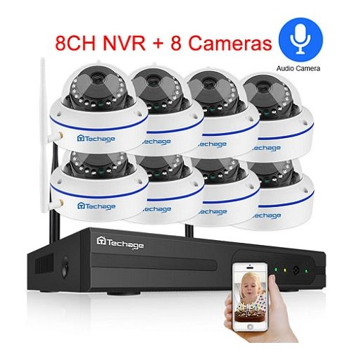 Techage 8CH CCTV System Wireless 1080P HD NVR 8PCS 2.0MP IR Outdoor Waterproof Dome Wifi Security Camera System Surveillance Kit(1T)