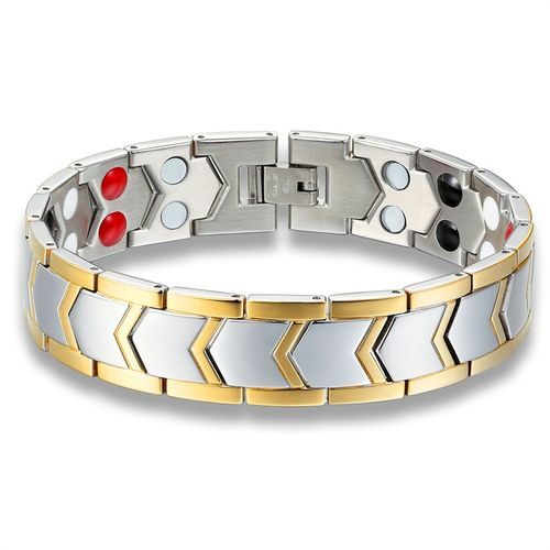 Titanium Steel Healthy Magnetic Therapy Energy Bracelet - Silver/Gold