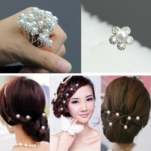 20Pcs Wedding Bridal Pearl Flower Crystal Hair Pins Clips Bridesmaid