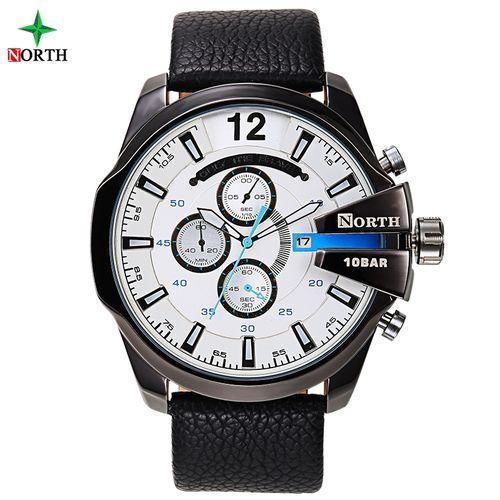 Leather Chronograph Wrist Watch - Black/Silver