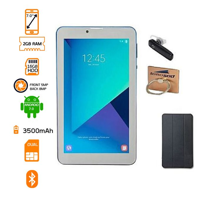 """product_image_name-Lenosed-T79 Tablet 4G LTE Dual SIM - 16 GB HDD - 2GB RAM -7"""" Gold + Free Bluetooth + Flip Cover + Stent Holder-1"""