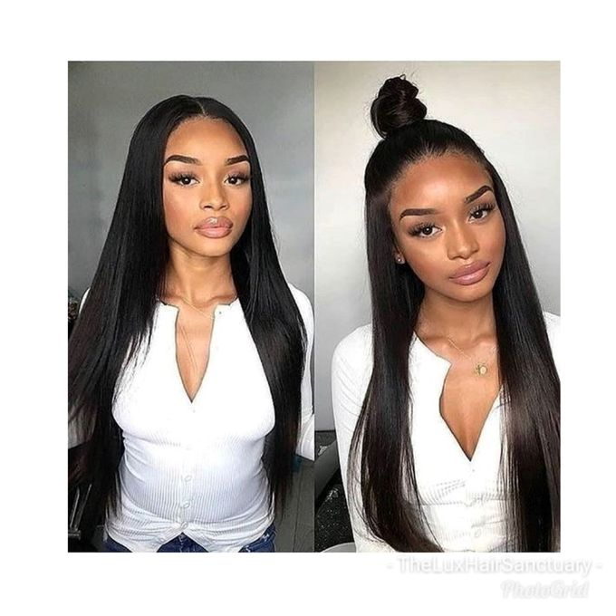 180 Lace Frontal Brazilian Remy Hair Straight Wig 18 Natural Black
