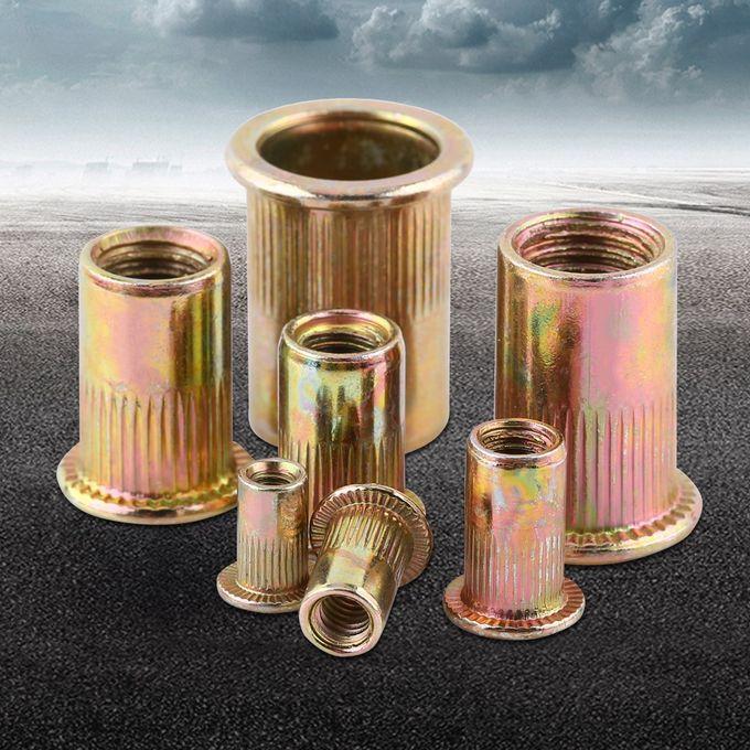M3-M12 Carbon Steel Flat Threaded Rivet Nut Flange Rivnut Nutsert Fastener,Pack of 100//20Pcs M5//100pcs