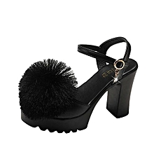 43ffb642b57f7 Blicool Shoes Women Fish Mouth Hairball Platform High Heels Wedges Sandals  Buckle Slope Shoes Black