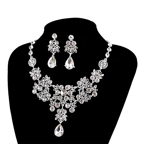 Women''s Wedding Jewellery Sets Fashion Bride Earrings & Pendant Necklace-White'