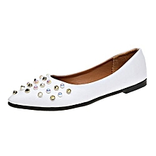 496caa434 Blicool Shoes Women Spring Rivet Decoration Casual Shoes Female Pretty  Square Heel Flat Shoes  White
