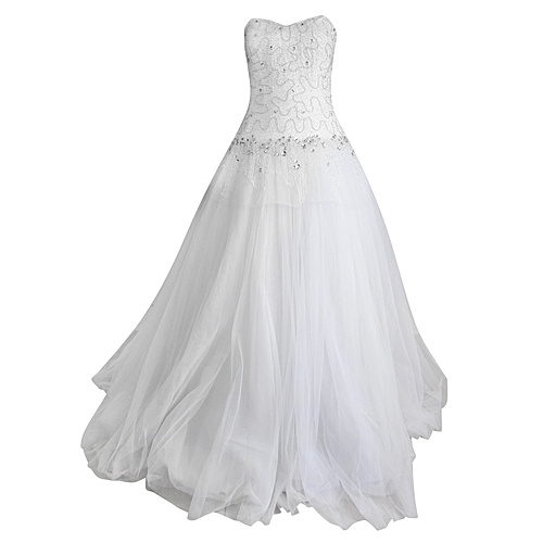 Strapless Sequin Detail Ball Gown - White