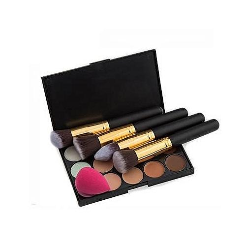 Makeup Brushes, Beauty Blender & Concealer Palette Set