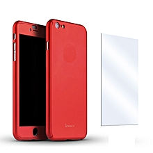 iPhone 6/6s 360 Case Tempered Glass Screen Protector Bundle - Pale Red