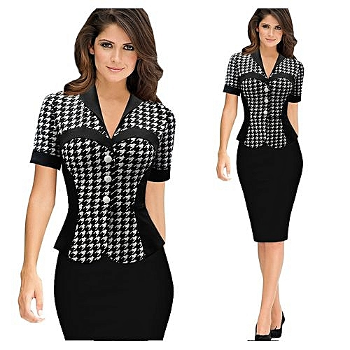 ff509e77276 Generic Summer Short Sleeve Womens Elegant 2017 Ruched Button Peplum  Stitching Casual Wear To Work Office Business Party Bodycon Pencil Sheath  Dress Formal ...